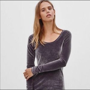 Aritzia Wilfred free grey velvet dress
